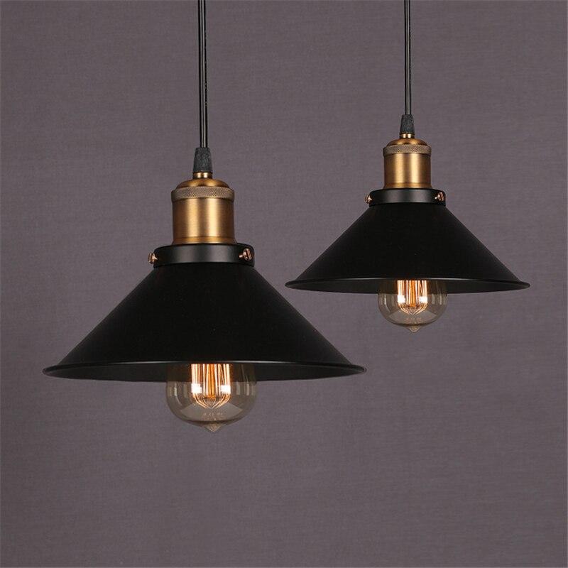 Luminaires suspendus rétro nordiques décor industriel américain lampe pendante de salon Restaurant Luminaire noir abat-jour luminaires de cuisine
