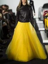 秋冬エクストラロングメッシュレースヴィンテージ拡張スカートの女性の黄色弾性ウエストビーチボールビッグスイングスカート