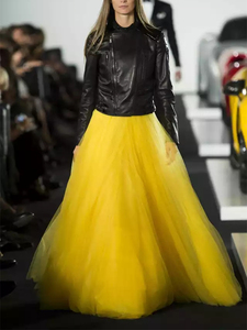 Image 1 - סתיו חורף ארוך במיוחד רשת תחרה בציר חצאית התרחבות נשים צהוב טול אלסטי מותניים חוף נסיעות כדור גדולה נדנדה חצאיות