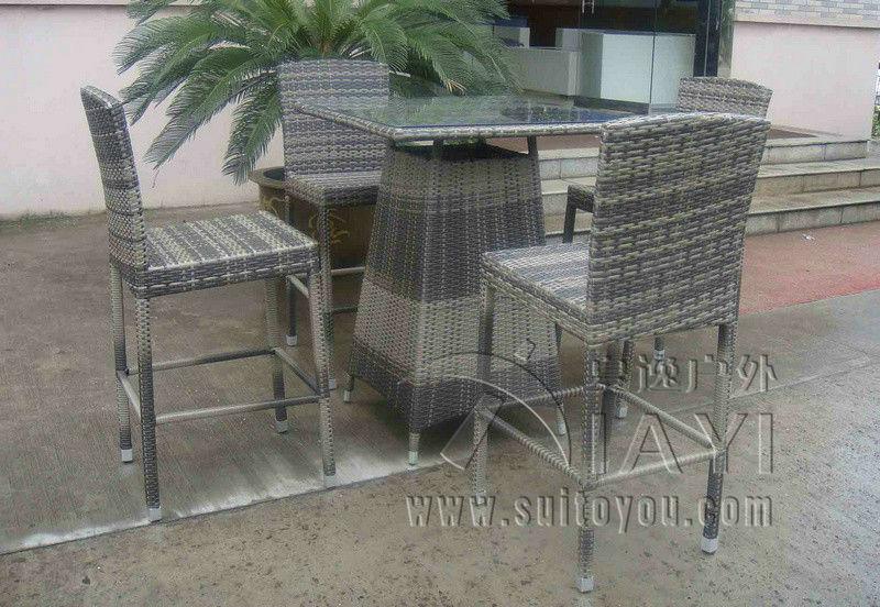 5pcs Hand Woven Grey Rattan Bar Set , Resin Wicker Patio Bar Furniture(China