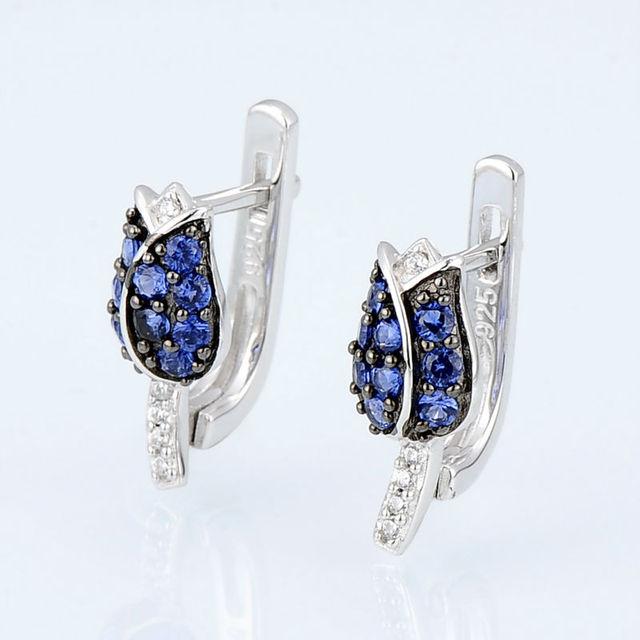 Strieborná súprava šperkov MODRÝ TULIPÁN Silver Jewelry Set BLUE TULIP