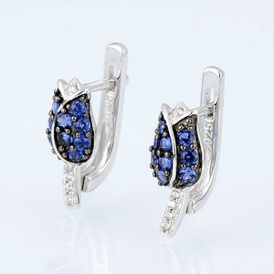 Image 5 - SANTUZZA Silver Jewelry Set For Woman Unique Delicate Blue Tulip Flower CZ Ring Earrings Set 925 Sterling Silver Fashion Jewelry