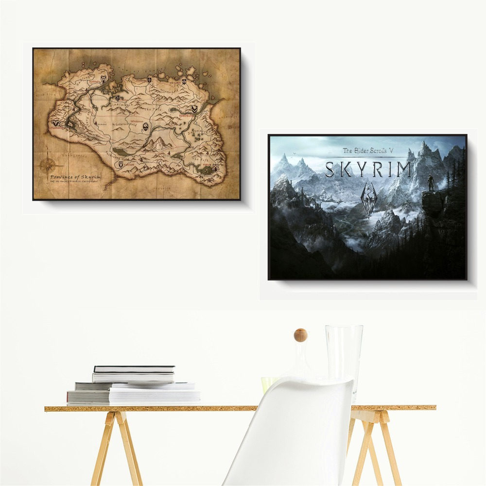 Skyrim The Elder Scrolls Game Posters and Prints Wall art Decorative Picture Canvas Painting For Living Room Home Decor Unframed image