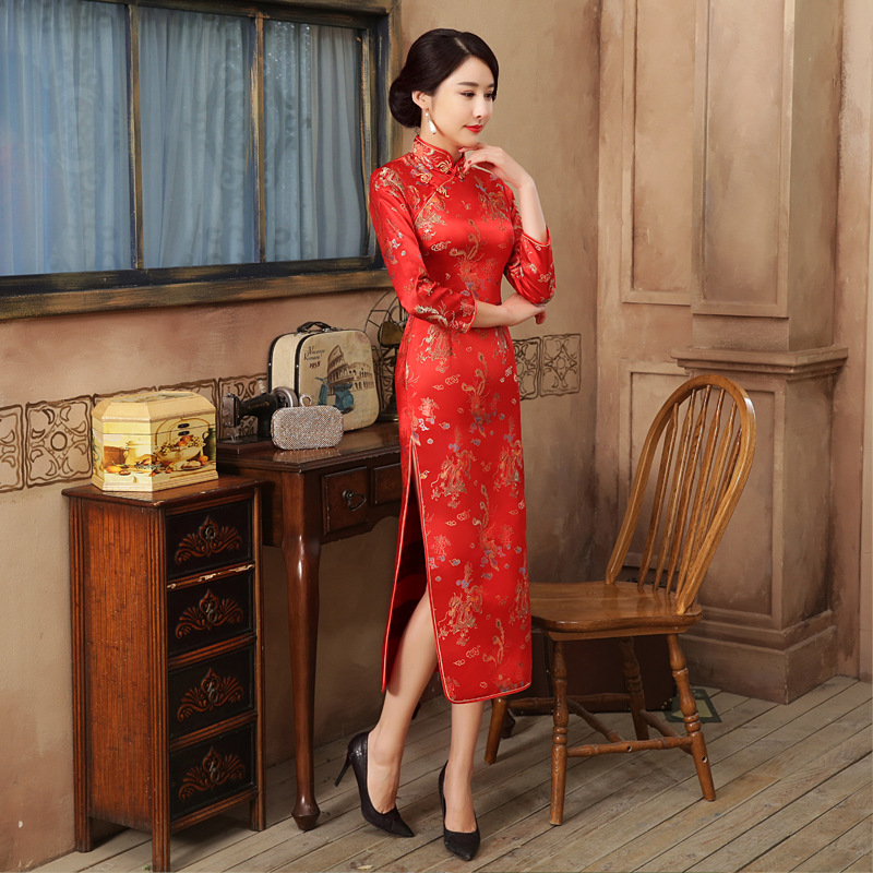 Red Chinese Bride Wedding Party Qipao Dress Sexy Women Satin Long Sleeve Cheongsam Dragon Phoenix Vestidos S M L XL XXL