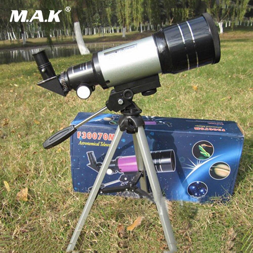 Télescope monoculaire astronomique professionnel F30070M argent avec trépied Barlow lentille oculaire filtre de lune pour l'espace astronomique