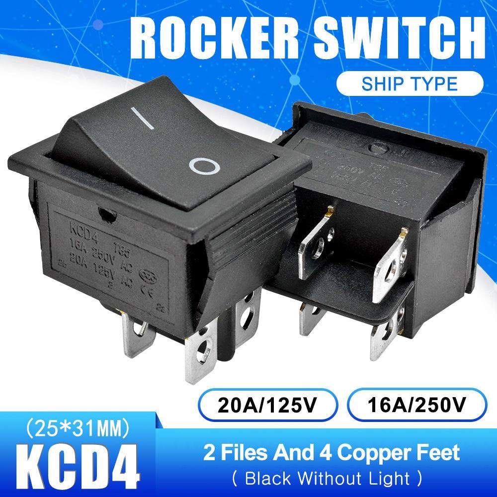 KCD4 Кулисный Переключатель Кнопка ВКЛ/ВЫКЛ 2 Позиции 4 штырей, 6pins, электротехническое оборудование с светильник Мощность переключатель 16A 250VAC AC 250V - Цвет: Black without Light