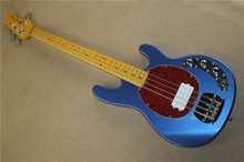 Metallic Blue Music Man Ernie Ball Sting Ray 4 String Electric Bass Guitar with active pickups 9V battery