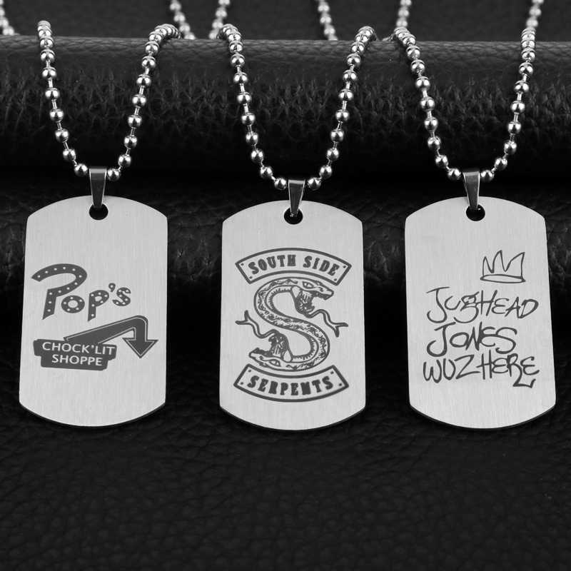 TV Series Riverdale Southside Serpents Tag Pendant Necklace Stainless Steel Fashion Inspired Jewelry for Fans Laser Printing