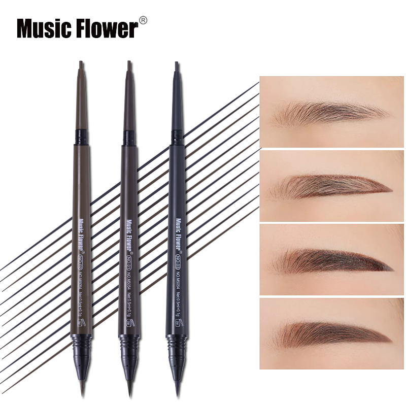 Music Flower Brand Cosmetic Eyes Makeup Matte Natural Double Head Eyebrow Pencil +Eyebrows Tint Liquid Waterpoof Long-lasting