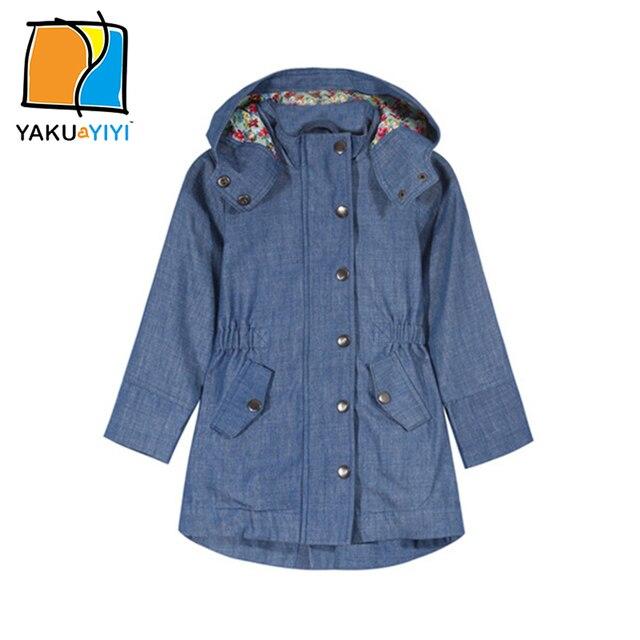 c0c6cb7c2960 YAKUYIYI Brand New Spring Girl Coat Solid Blue Elastic Waist Hooded ...