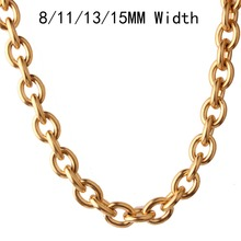 8/11/13/15mm New Arrive 316L Stainless Steel Gold Tone O Rolo Link Chain Mens Womens Hot Jewelry Necklace Or Bracelet 1PCS 7-40