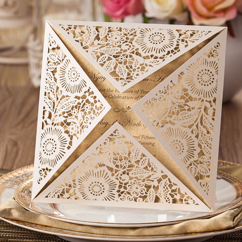 50pcs Laser Cut Wedding Invitations Cards Kit Square Lace Engagement For Marriage Anniversary Paper Cardstock Cw519 Wh Cw520 In From