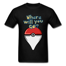 Pokemon T-shirt Men Pocket Monster Tshirt Lets Go Tops Tees GPS Where Are You Novelty T Shirt Pikachu Funny Anime