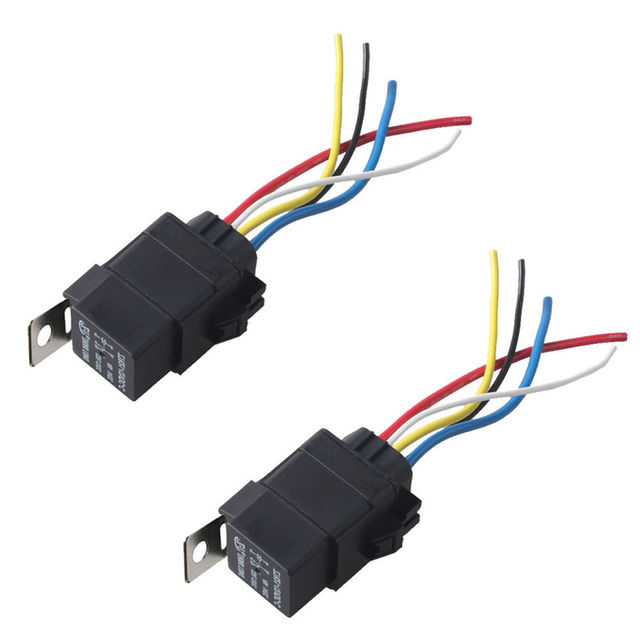 EE support 2Pcs 12V 40A SPDT Relay Socket Plug 5Pin 5 Wire
