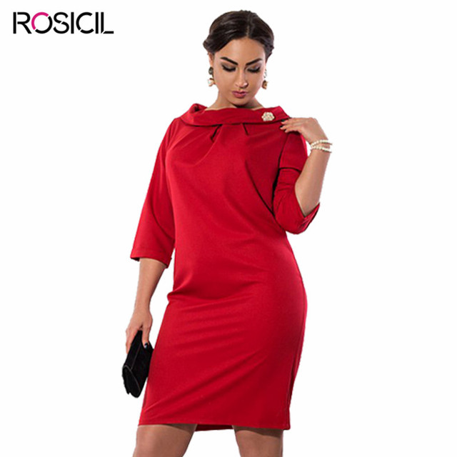 b356779966d Women Big Large Plus Size Elegant Sexy Evening Red Party Dresses 5xl 6xl  Clothing Solid O-neck Women Summer Vintage Dress