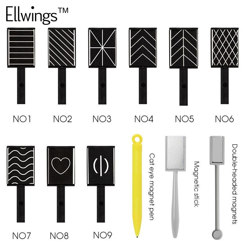 Ellwings DIY Tira Ímã Mágico da Vara para Cat Eye Gel Polonês Da Arte Do Prego Ferramenta Manicure 3D Efeito Forte Dupla-com a cabeça descoberta Ímã