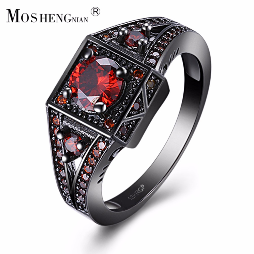Black Gold Zircon Ring Gothic Rococoplex Pattern Thumb Ring Red Cz Gems  Mosaic Dignified British