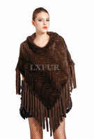 Luxurious Real Knitting Mink Fur Pashmina Stole With Hoody Womens Glamorous Mink Fur Ponchoes Capes Shawls