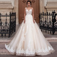 Vintage Arabic Princess Wedding Dresses Lace Turkey Women Country Western Bridal Gowns 2016 Pearls Sash Tulle
