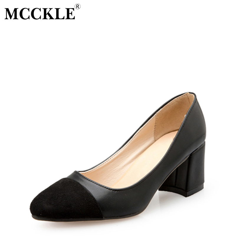 MCCKLE Female Slip On Party Flock Chunky Heel Comfortable High Heels Ladies Fashion Black Pumps Women's Style Autumn Shoes cicime women s heels thin heel spikes heels solid slip on wedding fashion leisure casual party dressing high heel platform pumps