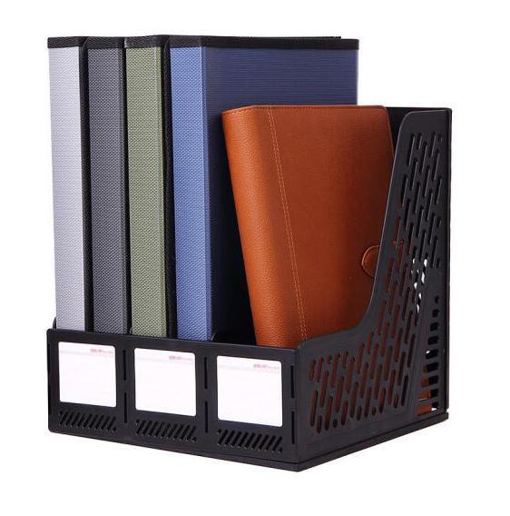 Купить с кэшбэком Deli 9845 document trays file box functional file organizer 3 cases desktop storage file folder with label