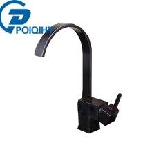 Poiqihy черный бронзовый кран Водопад смесители Одной ручкой на одно отверстия на бортике смеситель судно Стиль смесители