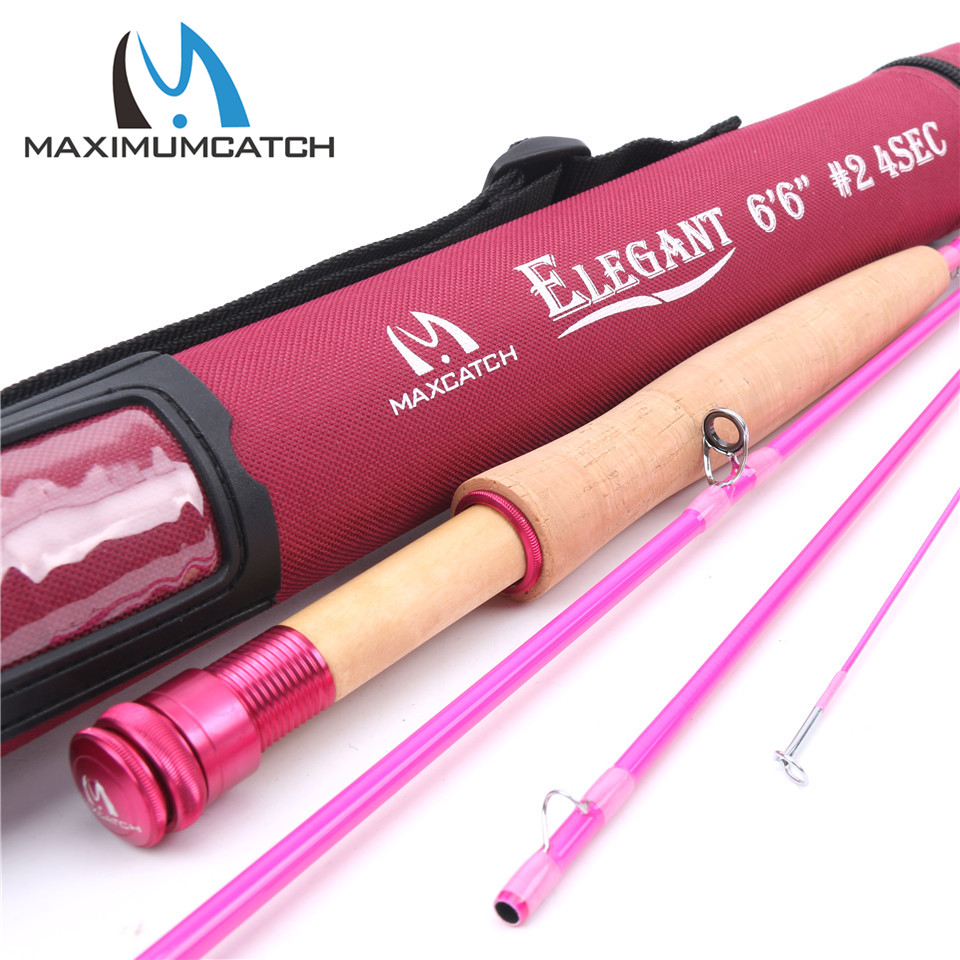Maximumcatch 6.5/9FT Pink Fly Rod 2/5WT 4Pieces 30T Carbon Fiber Medium-Fast Fly Fishing Rod For Ladies goture bluewater series fly fishing rod 2 7m 30t carbon fiber fly rod m mf action 5wt 6wt 7wt 8wt for trout bass