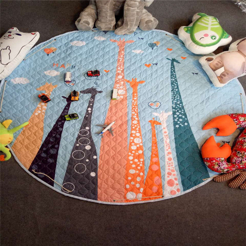 Tapis de sol Dia pour chambre d'enfants. 150 cm rond bébé tapis de jeu bébé filles garçons ramper tapis jouet organisateur de stockage pochette sacs - 5