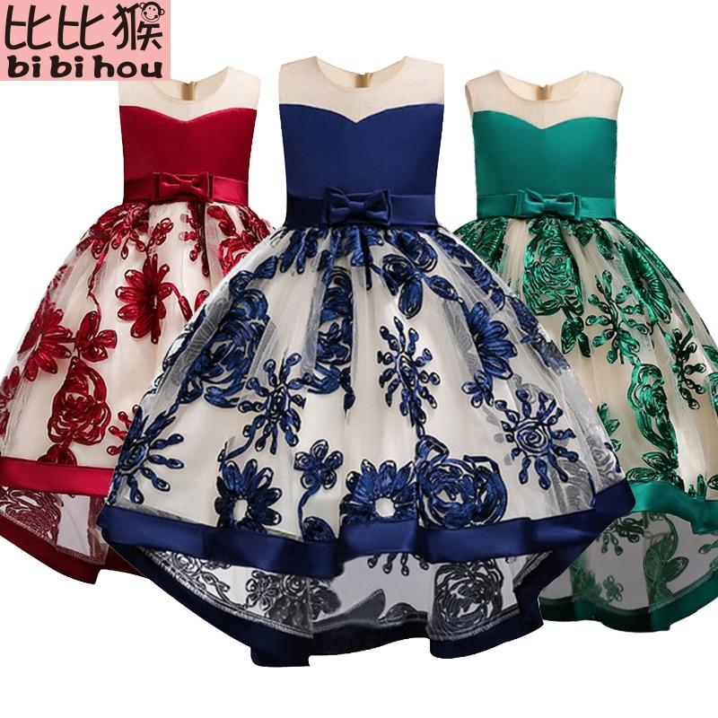 Ragazze dei capretti del Vestito rosso bownot Elegante Spettacolo Party Dress vestiti Delle Ragazze costumi di natale per i bambini delle ragazze Del Bambino Infantile 3- 12 t