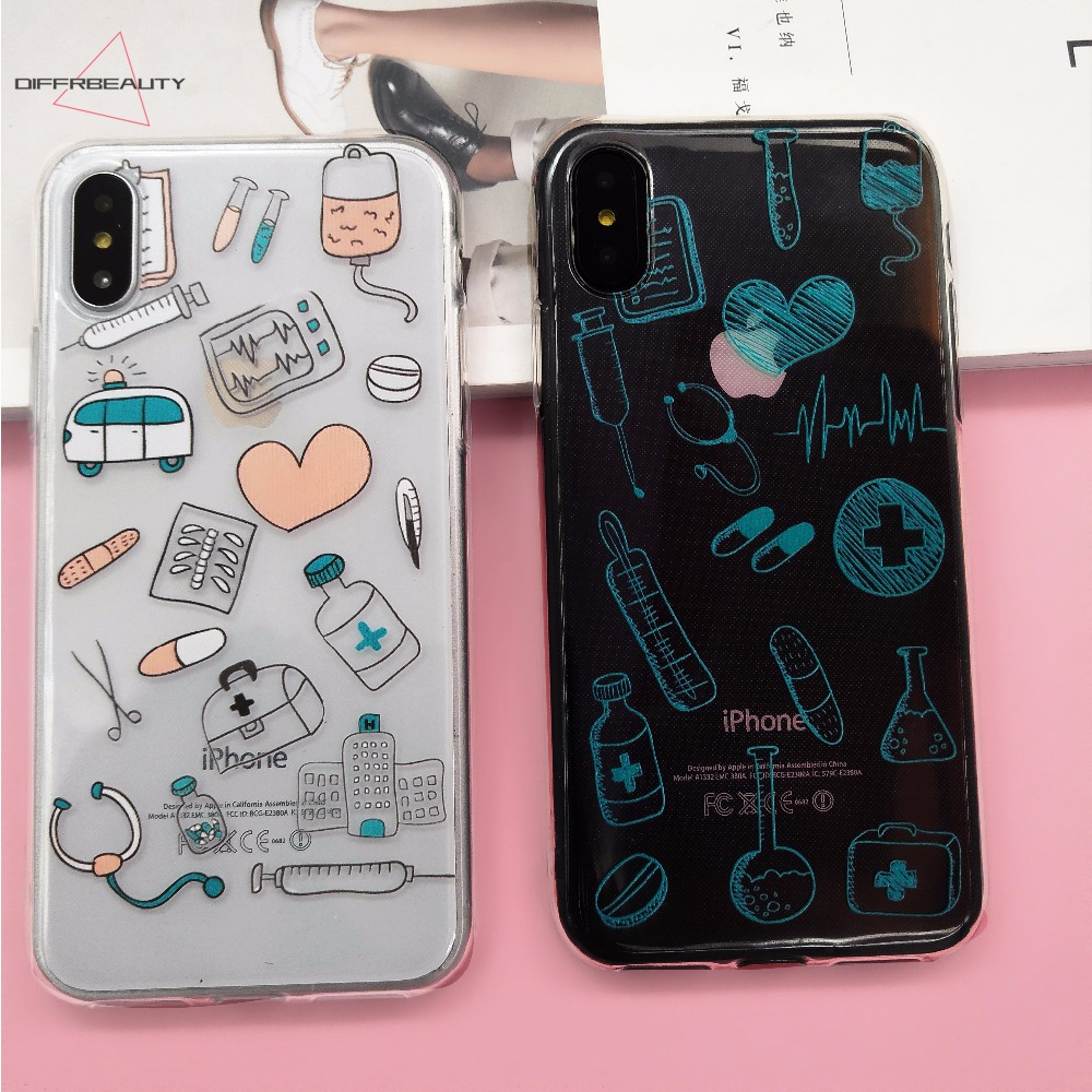 Cartoon Cute Profession Doctor Medical Phone Case Coque For Iphone 5 6 6s X Xr Plus Clear Phone Cover For Iphone 8 7 Plus Phone Bags & Cases