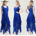 2017 hot summer Bohemia style solid beach irregular lace 2 piece dress women's V-neck plus size 6XL beach dress maxi dress