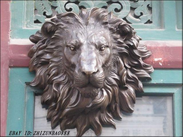 Obrovské západní umění mosazné nástěnné dekorace Lion King Animals Sochařství Zahradní dekorace 100% skutečná mosaz