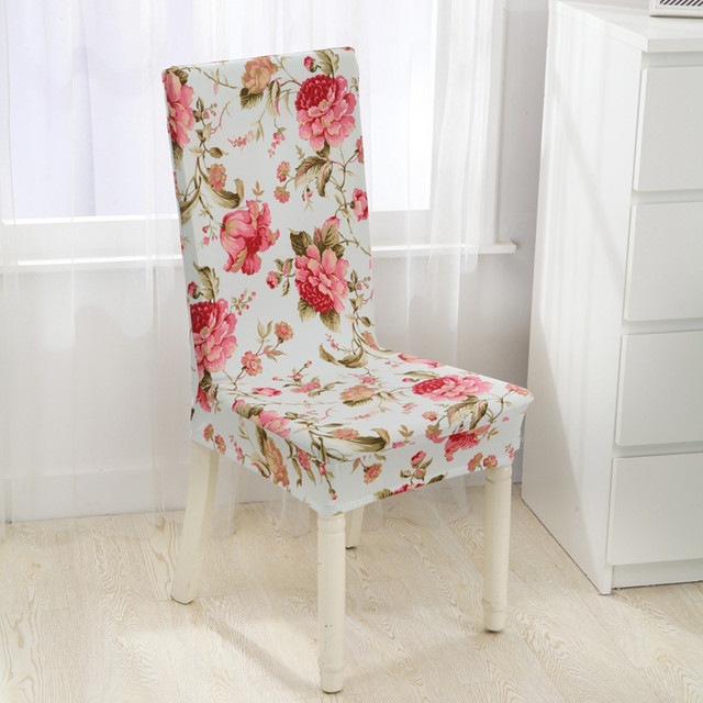 Dining Chair Covers Aliexpress Carlisle Wedding Spandex Polyester Red Flowers Printed Elastic For Party Banquet