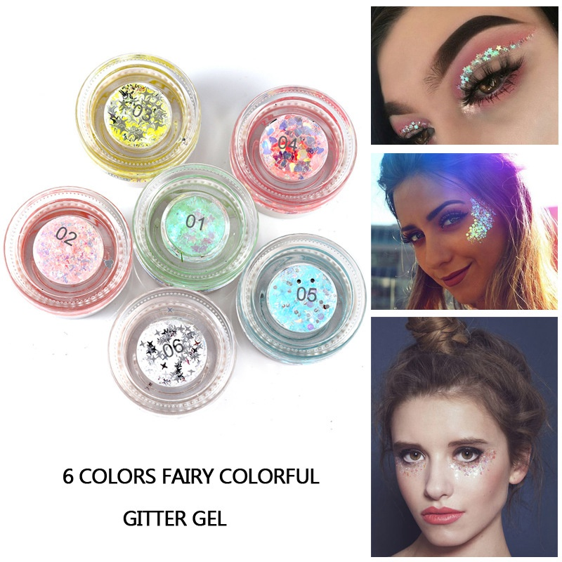 Beauty Essentials Hybrid Sequins Glitter Round Colorful Glitter Cream Pots Face Eyes Shadow Body Shadow Glitter Beauty Makeup Mermaid Sequin Gel Catalogues Will Be Sent Upon Request