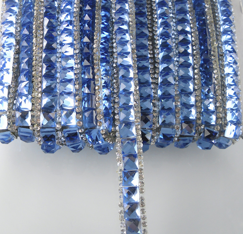 Hotfix square blue clear glass crystal faceted rhinestones tape clothing  shoes bag applique wedding decorations chain f23758b8ce78