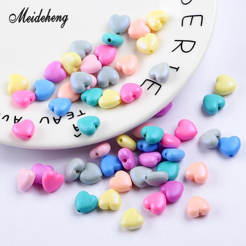 Meideheng barevné korálky pevné akrylové korálky šperky výroba DIY řemesla příslušenství dodávky pro šperky teplo tvar 11mm 100ks / pytel