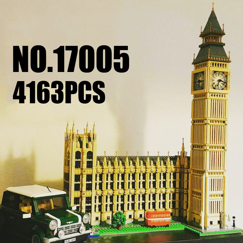 Lepin Creator Expert 17005 4163PCS Big Ben Elizabeth Tower Sets Model Building Kits Blocks Bricks Toys Kids Compatible 10253 1681pcs assembly blocks burj khalifa tower model toy diamond bricks kids gifts birthday present compatible creator 16 16 45cm