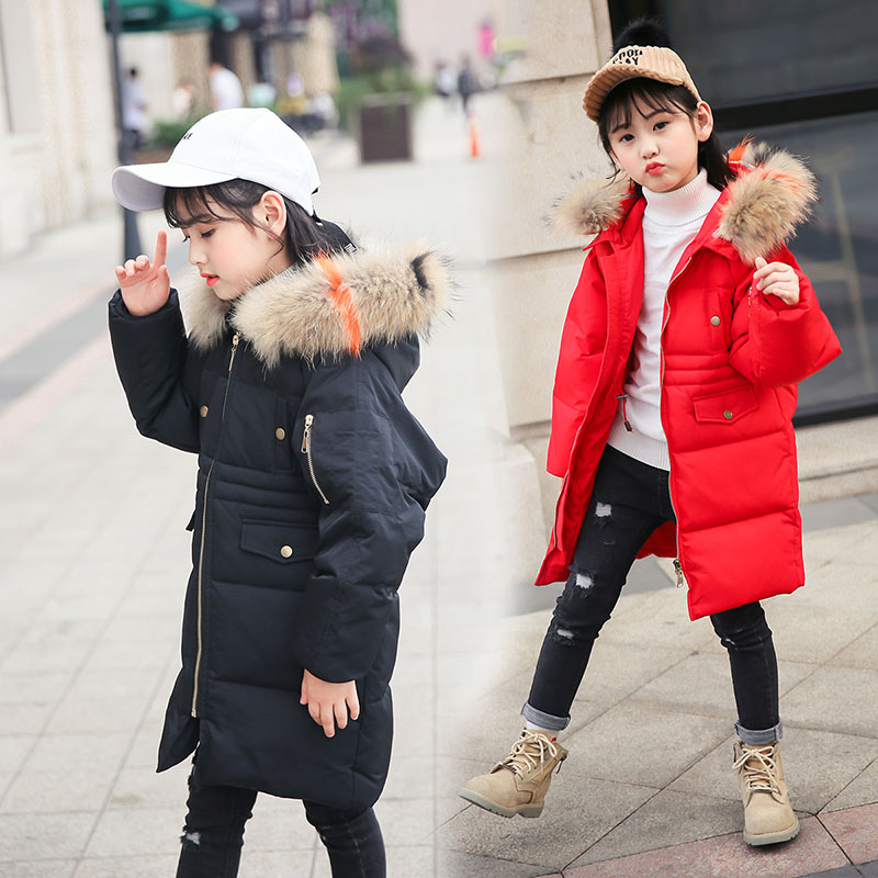 Children winter down jacket 2018 new girls winter medium-long thick coat kids fashion jacket for girls warm Fur collar outerwear elegance princess winter wool coat 2016 new fashion fur stand collar overcoat winter warm jacket for girls pink red 120 160cm