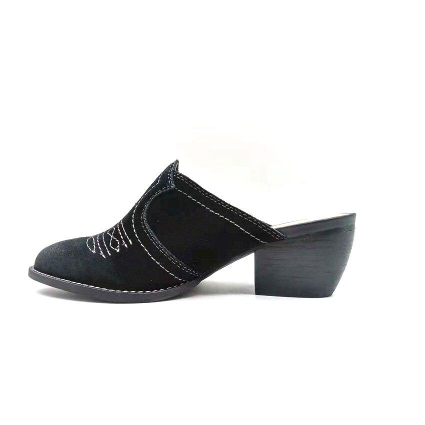 Black Sandalias Genuino Femme De Zapatillas Zapatos Moda Embroidor Mujeres Nouveau Alta Cuero 2018 Mujer Tacones Bottes xzZwqnOSO