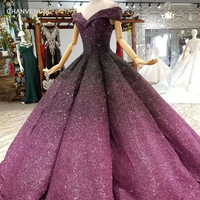 LSS051 shiny puffy purple evening dress off shoulder sweetheart floor length pleat evening party dresses women occasion dress