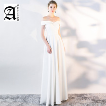 New Simple Satin Boat Neck Evening Dress Fashion Slim Off The Shoulder Long A Line Party Robe De Soiree L