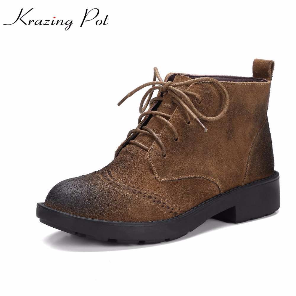 Krazing Pot 2018 cow suede fashion winter round toe thick low heels lace up boots office lady handmade western riding boots L26 krazing pot hot sale cow suede round toe thick high heels fashion office lady bowtie design keep warm quality ankle boots l8f1