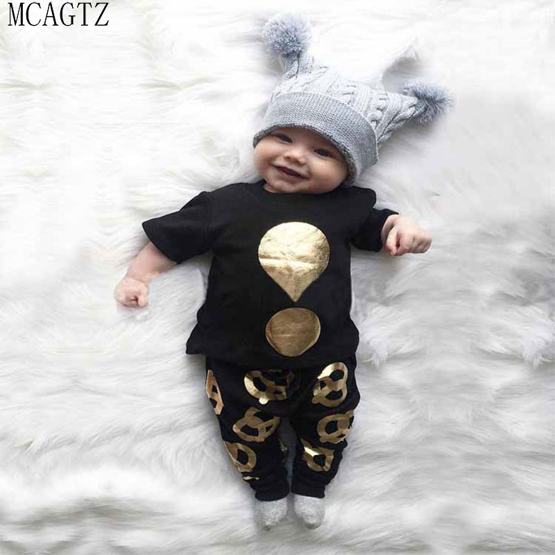 Summer 2017 2pcs Newborn Infant Baby Boys Kid Clothes Hot stampin T-shirt Tops + Pants Outfits Sets 0-24 Children's Clothing Set