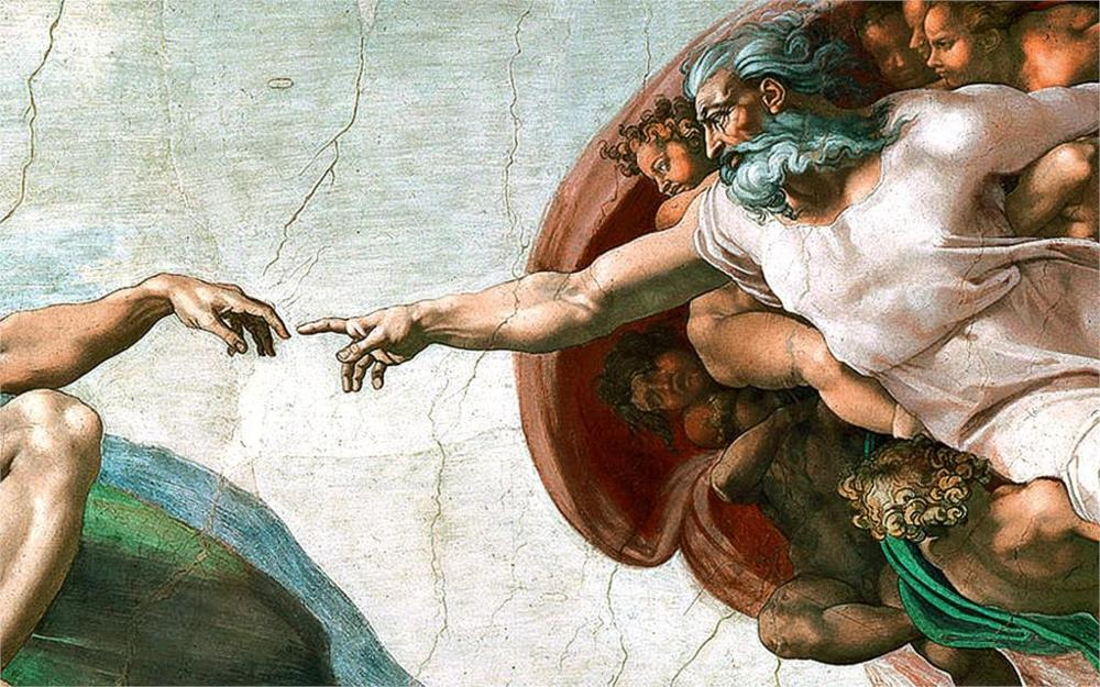 c7cf27ffc21d Paintings michelangelo the creation of adam sistine chapel 4 Sizes Silk  Fabric Canvas Poster Print