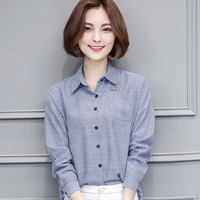 New Spring Casual Women Shirts Loose Full Sleeve Stand Neck Embroidery Striped 2017 Open Blouse Shirt