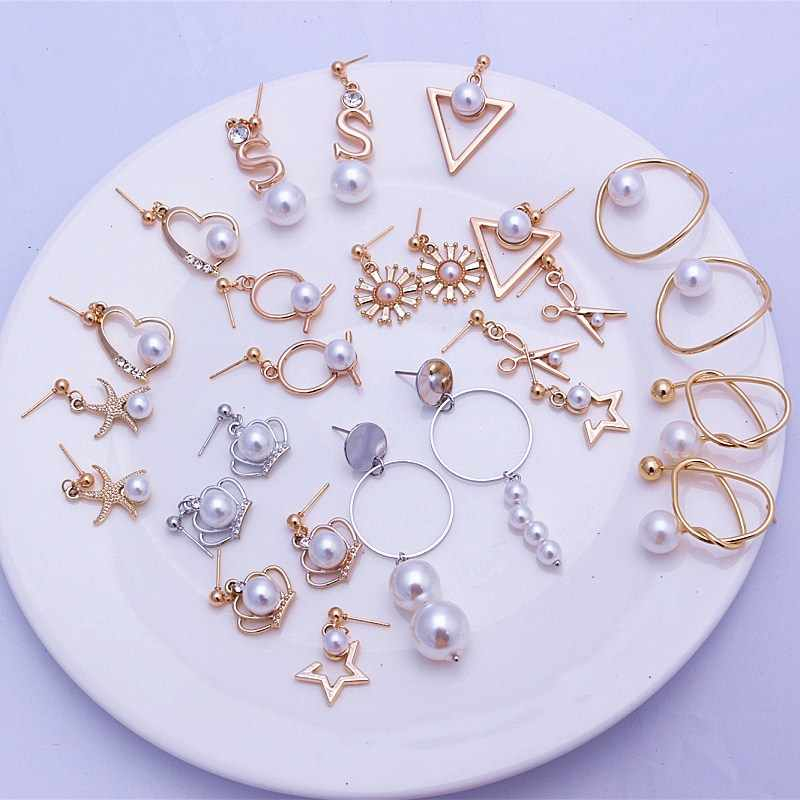 Shiny Crystal Geometric Irregular Heart Star Crown Flower Earring Imitation Pearl Earrings for Women Simple Fashion Statement Ea