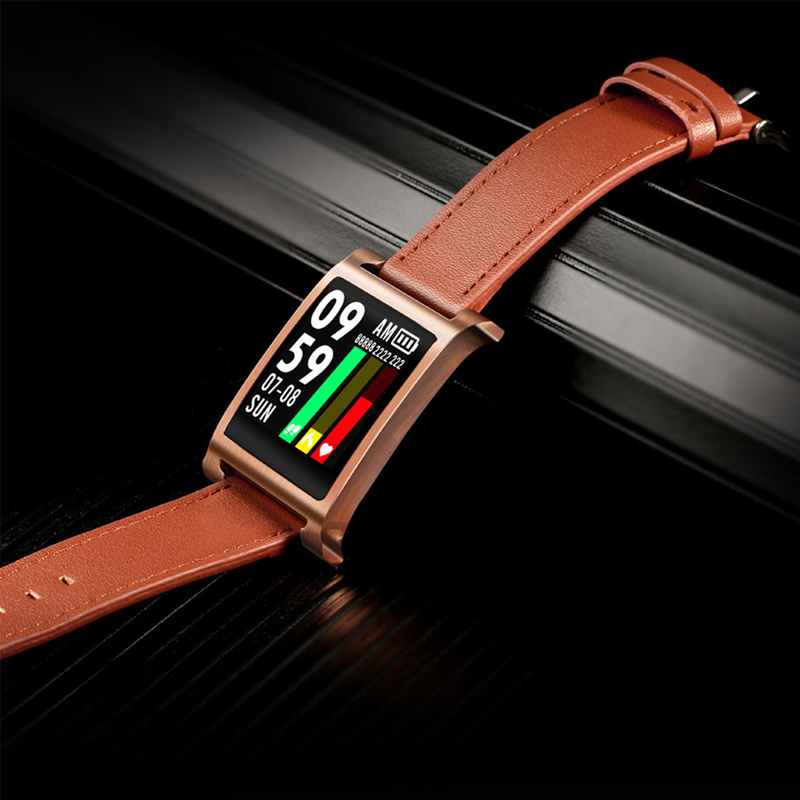 New leather strap smart bracelet adult business sports waterproof smart reminder 1 3 inch 3D arc