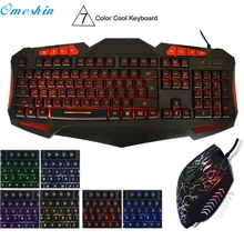 OMESHIN Simplestone LED USB Gaming Keyboard with 7 Adjustable Colorful Backlights Keyboard and Mouse Combo Set 0310