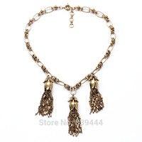 New Design Hot Sales Jewelry Wholesale Long Necklace Antique Gold Color Vintage Tassel Necklaces Pendants