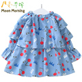Moon Morning Girls Shirts 2T~8T Cotton Long Sleeve Spring Kids Dresses Ruffles Frill Print Cherry Flare  Lovely New Child Blouse